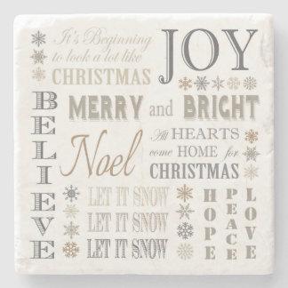 modern vintage holiday phrases stone coaster