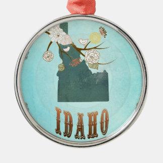 Modern Vintage Idaho State Map – Aqua Blue Silver-Colored Round Decoration