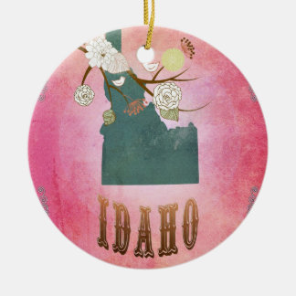Modern Vintage Idaho State Map- Candy Pink Christmas Ornament