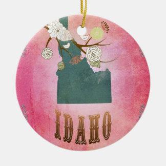 Modern Vintage Idaho State Map- Candy Pink Round Ceramic Decoration