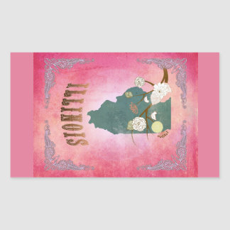 Modern Vintage Illinois State Map- Candy Pink Rectangle Stickers