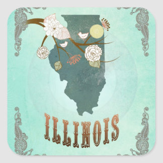 Modern Vintage Illinois State Map – Turquoise Blue Square Stickers