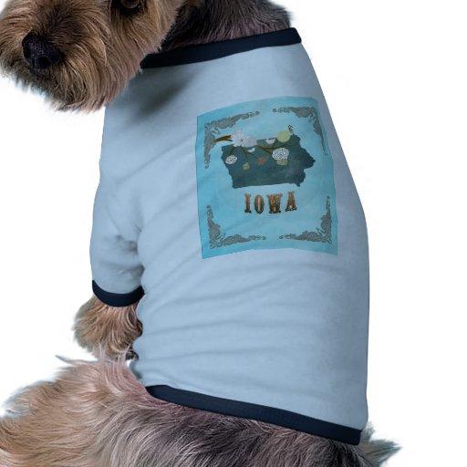 Modern Vintage Iowa State Map – Aqua Blue Pet Tee Shirt