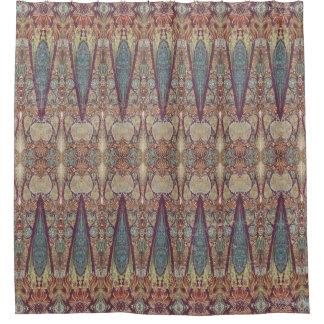 Modern Vintage Kashmir Paisley Striped Pattern Art Shower Curtain