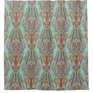 Modern Vintage Kashmir Paisley Turquoise Patterned Shower Curtain