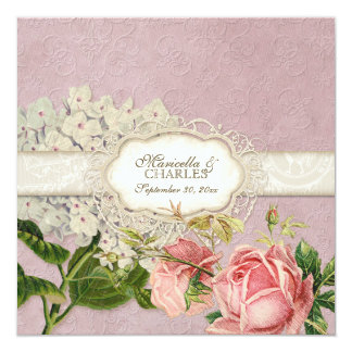 Modern Vintage Lace Tea Stained Hydrangea n Roses 13 Cm X 13 Cm Square Invitation Card