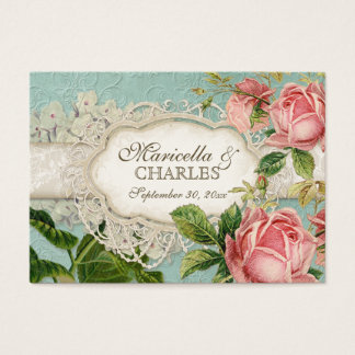 Modern Vintage Lace Tea Stained Hydrangea n Roses Business Card