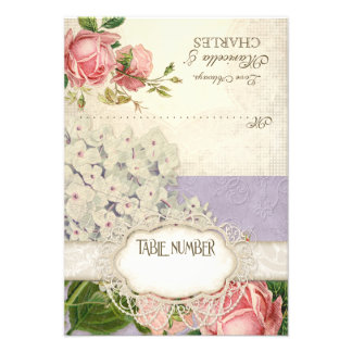 Modern Vintage Lace Tea Stained Hydrangea n Roses Invite