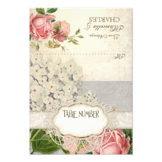 Modern Vintage Lace Tea Stained Hydrangea n Roses Invitations