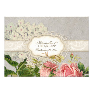 Modern Vintage Lace Tea Stained Hydrangea n Roses Custom Invitation