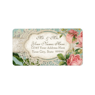 Modern Vintage Lace Tea Stained Hydrangea n Roses Label