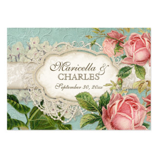 Modern Vintage Lace Tea Stained Hydrangea n Roses Pack Of Chubby Business Cards