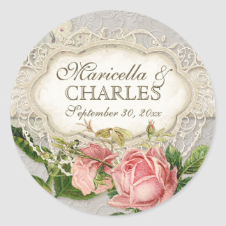 Modern Vintage Lace Tea Stained Hydrangea n Roses Round Sticker