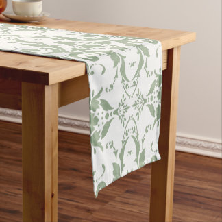 Modern vintage light green damask pattern short table runner