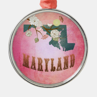 Modern Vintage Maryland State Map- Candy Pink Silver-Colored Round Decoration