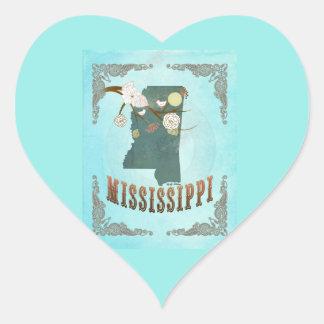 Modern Vintage Mississippi State Map – Aqua Blue Heart Sticker