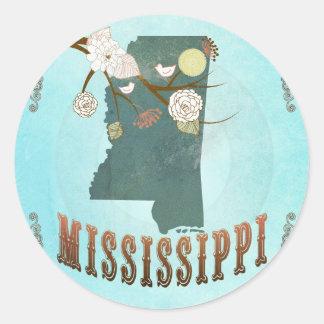 Modern Vintage Mississippi State Map – Aqua Blue Round Sticker