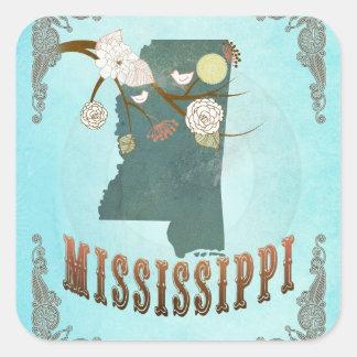 Modern Vintage Mississippi State Map – Aqua Blue Square Sticker