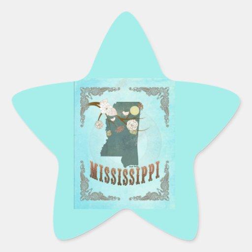 Modern Vintage Mississippi State Map – Aqua Blue Star Stickers