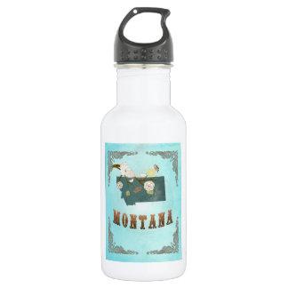 Modern Vintage Montana State Map – Aqua Blue 532 Ml Water Bottle