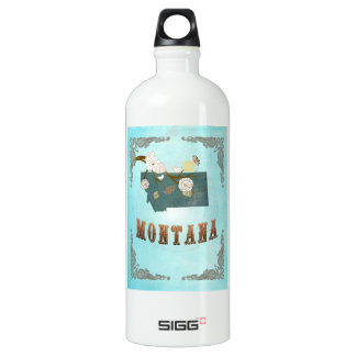 Modern Vintage Montana State Map – Aqua Blue SIGG Traveller 1.0L Water Bottle