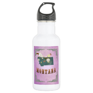 Modern Vintage Montana State Map- Grape Purple 532 Ml Water Bottle
