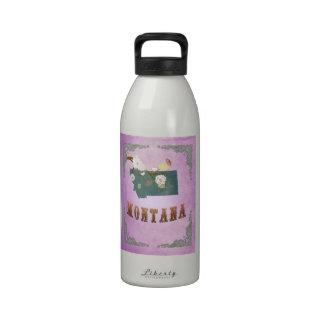 Modern Vintage Montana State Map- Grape Purple Reusable Water Bottle