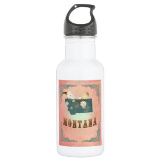 Modern Vintage Montana State Map- Pastel Peach 532 Ml Water Bottle