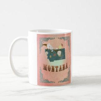 Modern Vintage Montana State Map- Pastel Peach Mugs