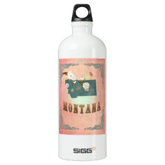 Modern Vintage Montana State Map- Pastel Peach SIGG Traveller 1.0L Water Bottle