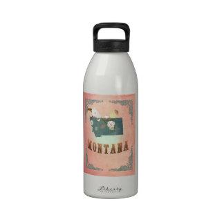 Modern Vintage Montana State Map- Pastel Peach Water Bottles