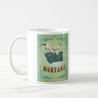 Modern Vintage Montana State Map – Sage Green Basic White Mug