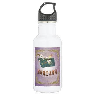 Modern Vintage Montana State Map- Sweet Lavender 18oz Water Bottle