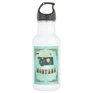 Modern Vintage Montana State Map – Turquoise Blue 532 Ml Water Bottle