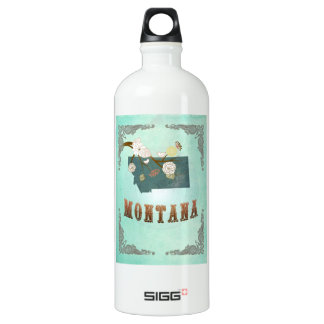 Modern Vintage Montana State Map – Turquoise Blue SIGG Traveller 1.0L Water Bottle
