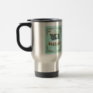 Modern Vintage Montana State Map – Turquoise Blue Stainless Steel Travel Mug