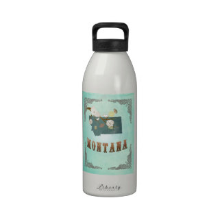 Modern Vintage Montana State Map – Turquoise Blue Water Bottle