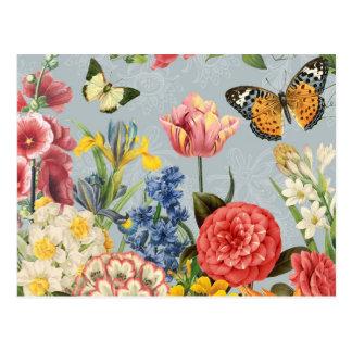 modern vintage multl botanical flowers postcard