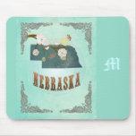 Modern Vintage Nebraska State Map – Turquoise Blue