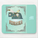 Modern Vintage Nebraska State Map – Turquoise Blue Mouse Pads