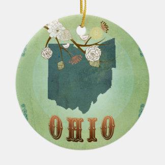 Modern Vintage Ohio State Map – Sage Green Round Ceramic Decoration