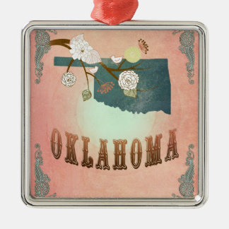 Modern Vintage Oklahoma State Map- Pastel Peach Silver-Colored Square Decoration