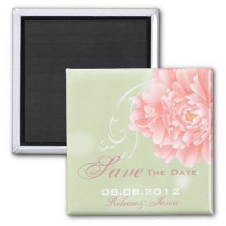 modern vintage Peonies floral save the date Magnets