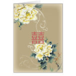 modern vintage peony floral chinese Wedding Greeting Card