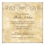 Modern Vintage Peony Floral Swirls, Bridal Shower Personalised Invite