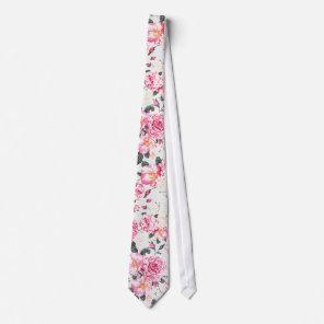 Modern vintage pink black roses floral pattern tie
