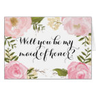 Modern Vintage Pink Floral Maid of Honour Request Card