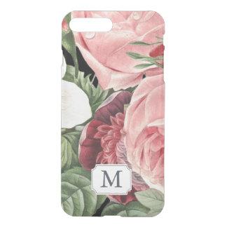 Modern Vintage Pink Floral Monogram Name iPhone 8 Plus/7 Plus Case