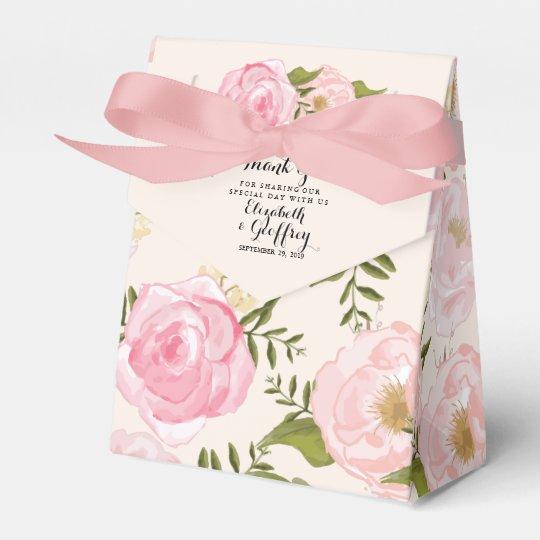 Modern Vintage Pink Floral Personalised Wedding Favour Box