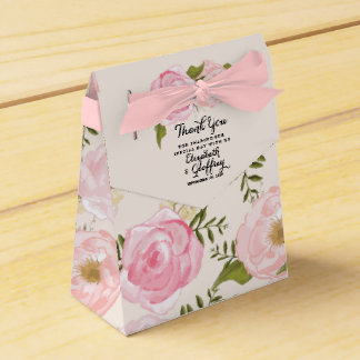 Modern Vintage Pink Floral Personalized Wedding Wedding Favour Boxes